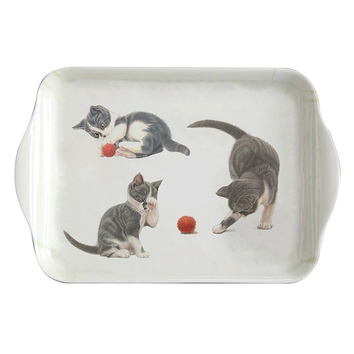 Small Tea Tray - Grey Kittens Playing