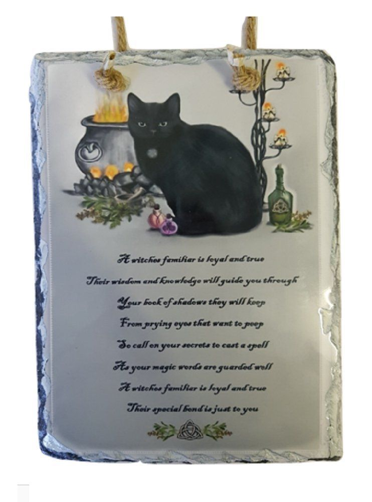 Slate Wall Plaque - A Witches Familiar - Black Cat, Cauldron & Spell Bottle