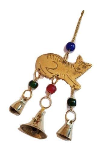 Black Cat & Brass Bells Chime