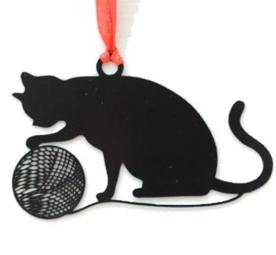 Black Cat Bookmark - Cat & Wool Ball