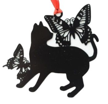 Black Cat Bookmark - Cat & Butterfly
