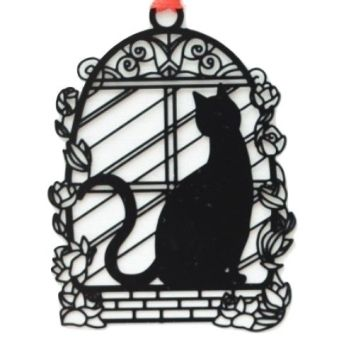 Black Cat Bookmark - Cat In Window