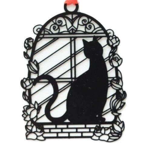 Black Cat Bookmark - Cat In Window
