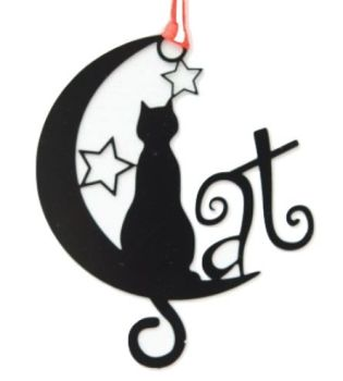 Black Cat Bookmark - Cat On Moon