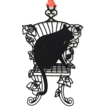 Black Cat Bookmark - Cat On Chair