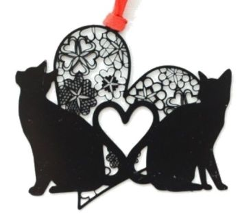 Black Cat Bookmark - 2 Cats & Heart