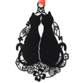 Black Cat Bookmark - 2 Cats In A Floral Ring