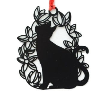 Black Cat Bookmark - Cat In A Floral Ring