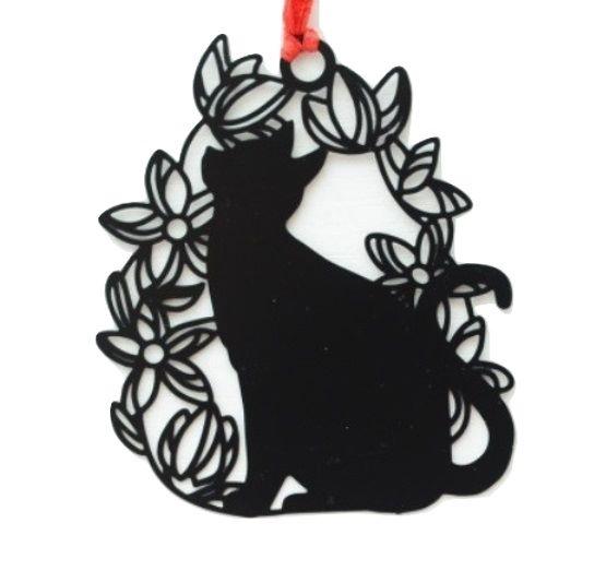 Black Cat Bookmark - Cat In A Floral Ring