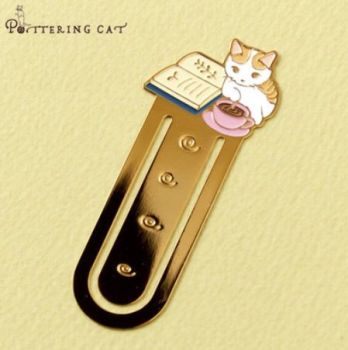 Pottering Cat - Metal Bookmark - Time For A Cup Of Tea