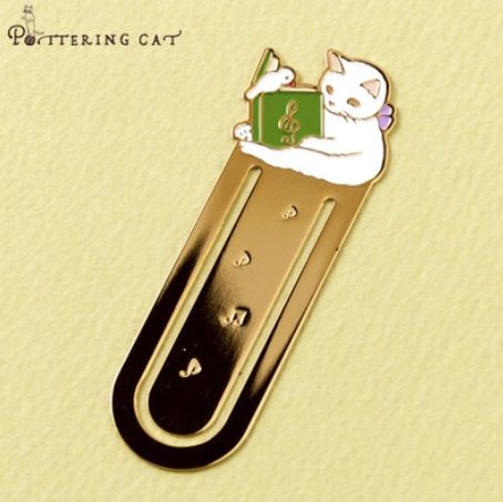 Pottering Cat - Metal Bookmark - Music Book