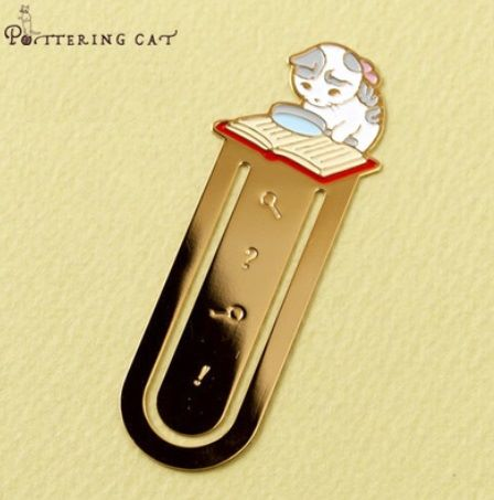 Pottering Cat - Metal Bookmark - Little Cat & Magnifying Glass