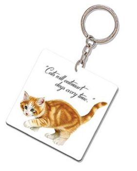 Kitten Quotes Keyring -  Cats will outsmart dogs every time