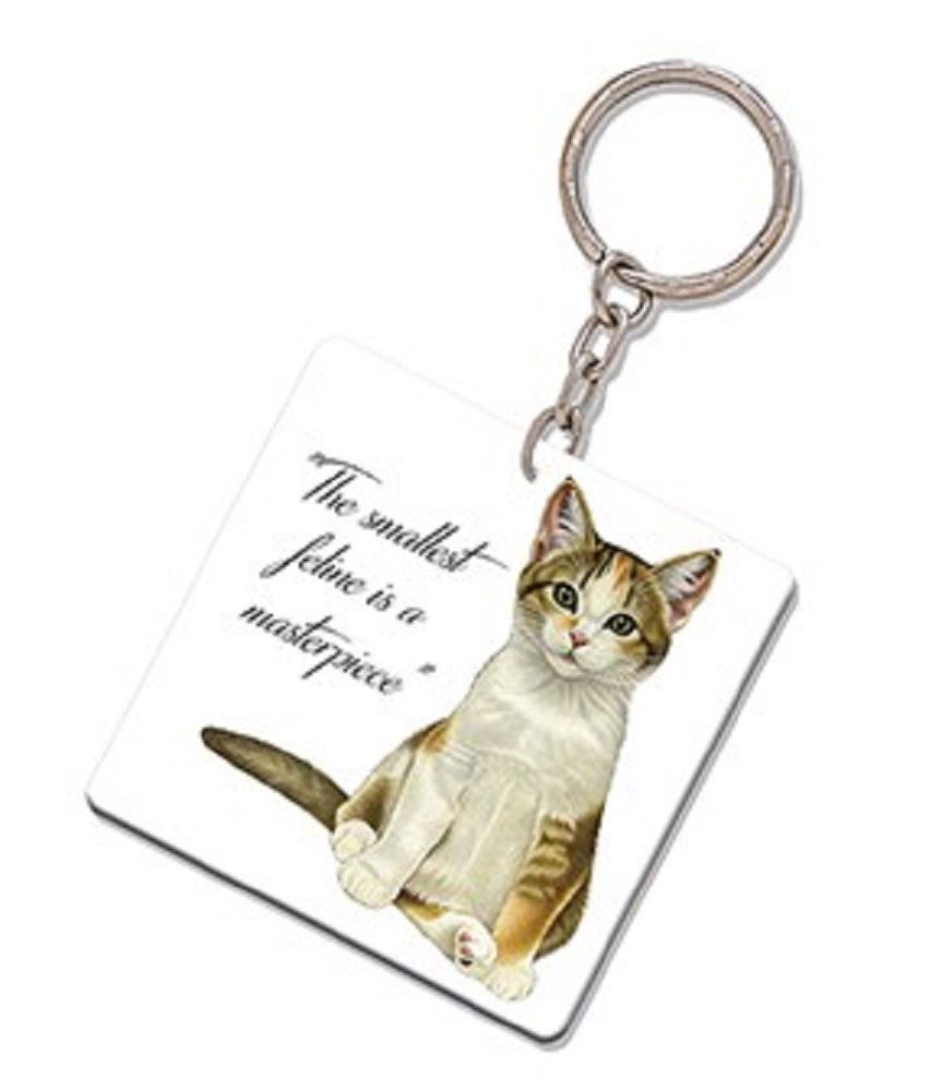 Kitten Quotes Keyring - The smallest feline is a masterpiece