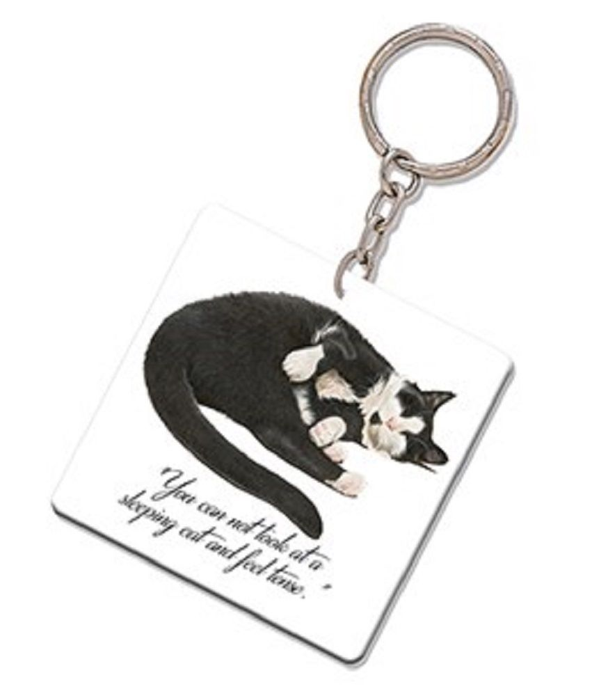 Kitten Quotes Keyring -  You cannot look at a sleeping cat and feel tense