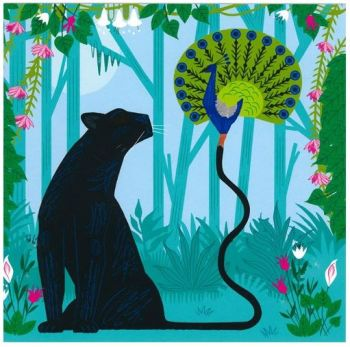 Greetings Card - The Panther & The Peacock