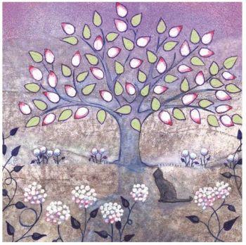 """Penny Gaj Art - Greetings Card """"Cat & Tree"""""""