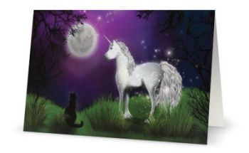 Blank Greeting Card - A familiar Sight - Black Cat & Unicorn