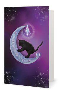 Blank Greeting Card - The Healer - Black Cat & Moon