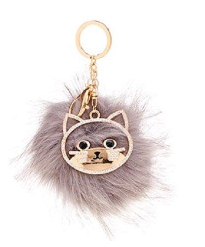 Fluffy Pom Pom Large Cat Diamante keyring
