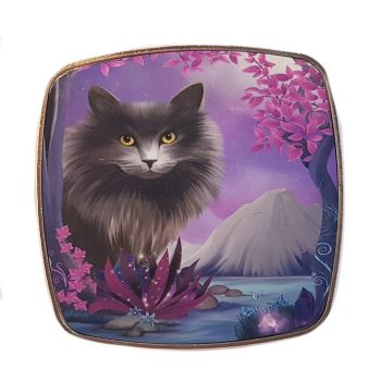Fantasy Cat - Obsidion - Chrome Finish Metal Magnet