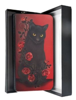 Black Cat & Red Roses - Large Clutch Purse