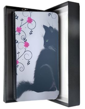 Just Looking - Black Cat & Roses - PU Leather Purse - Boxed