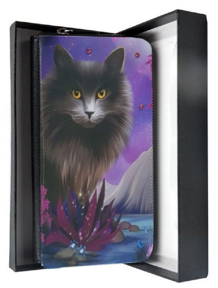 Crystal Sparkle Large Purse - Fantasy Cat Art - Obsidion Cat Purse