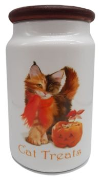 Pumpkin - Ceramic Cat Treat Jar