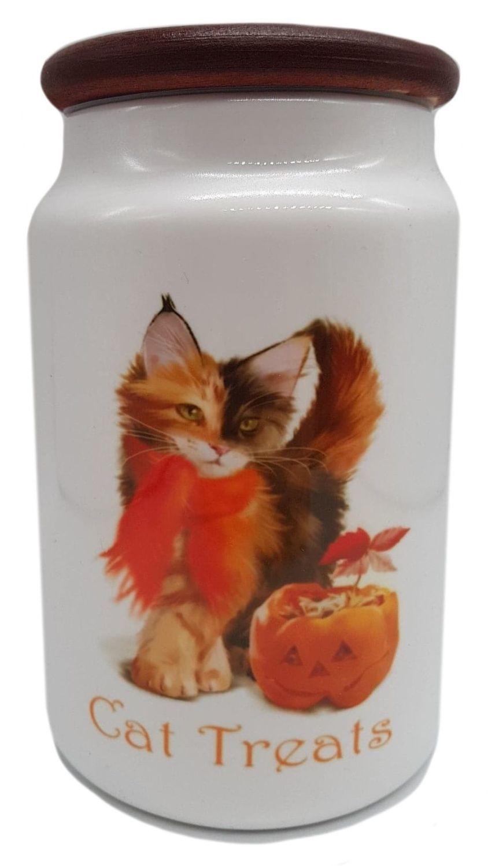 Pumpkin - Ceramic Cat Treat Jar