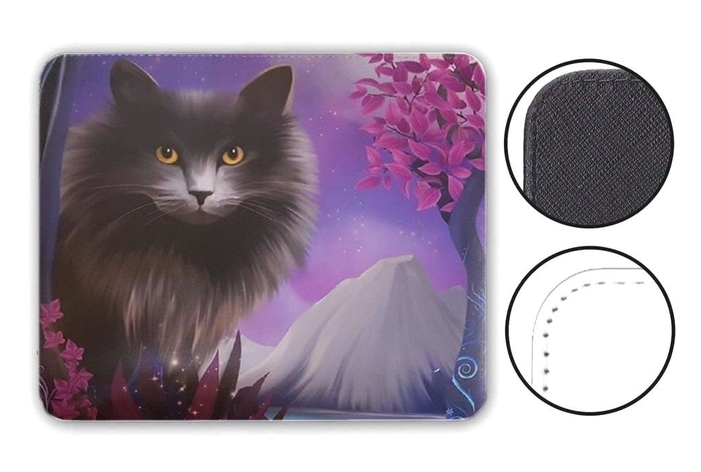 Fantasy Cat - Obsidion - Leather Effect Mouse Mat