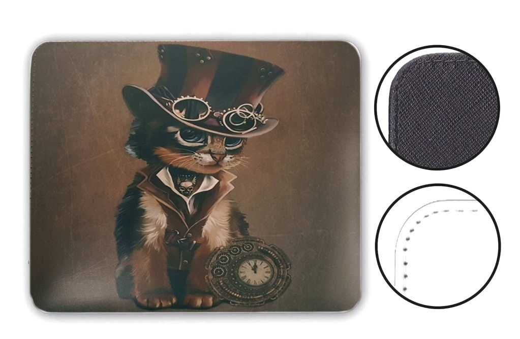The Time Keeper - Steampunk Cat - Mouse Mat