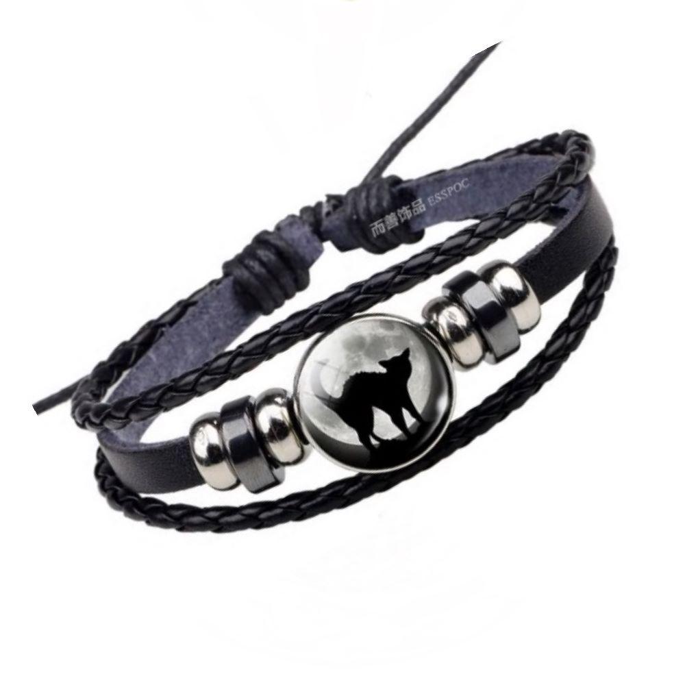 Leather Bracelet - Cat & Moon Cabochon - DUE OCTOBER