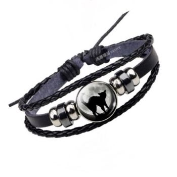 Leather Bracelet - Cat & Moon Cabochon