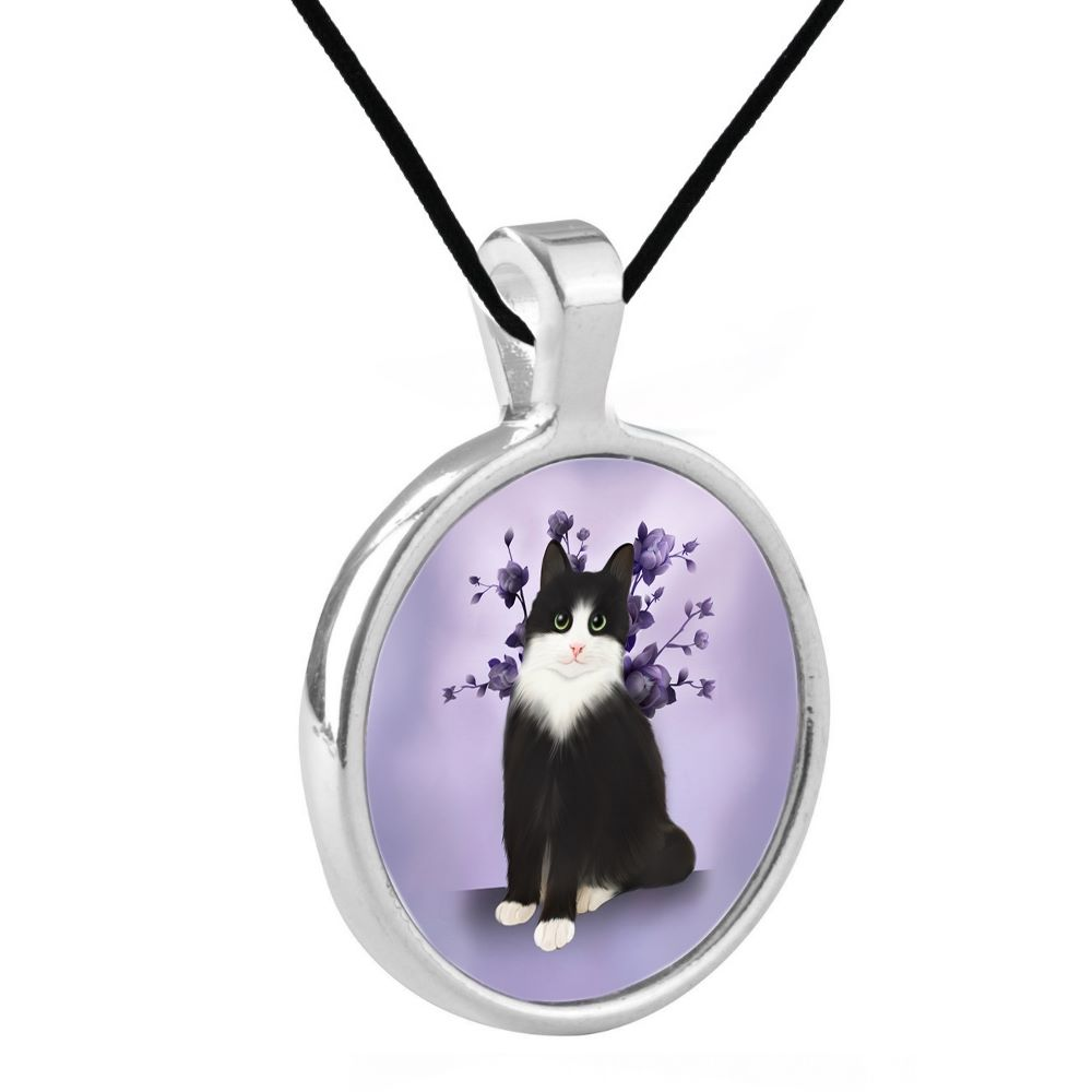 Silver Plated Bezel Pendant Necklace - Lilac Serenity