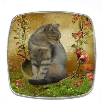 Fantasy Cat - Autumn Enchantment- Chrome Finish Metal Magnet