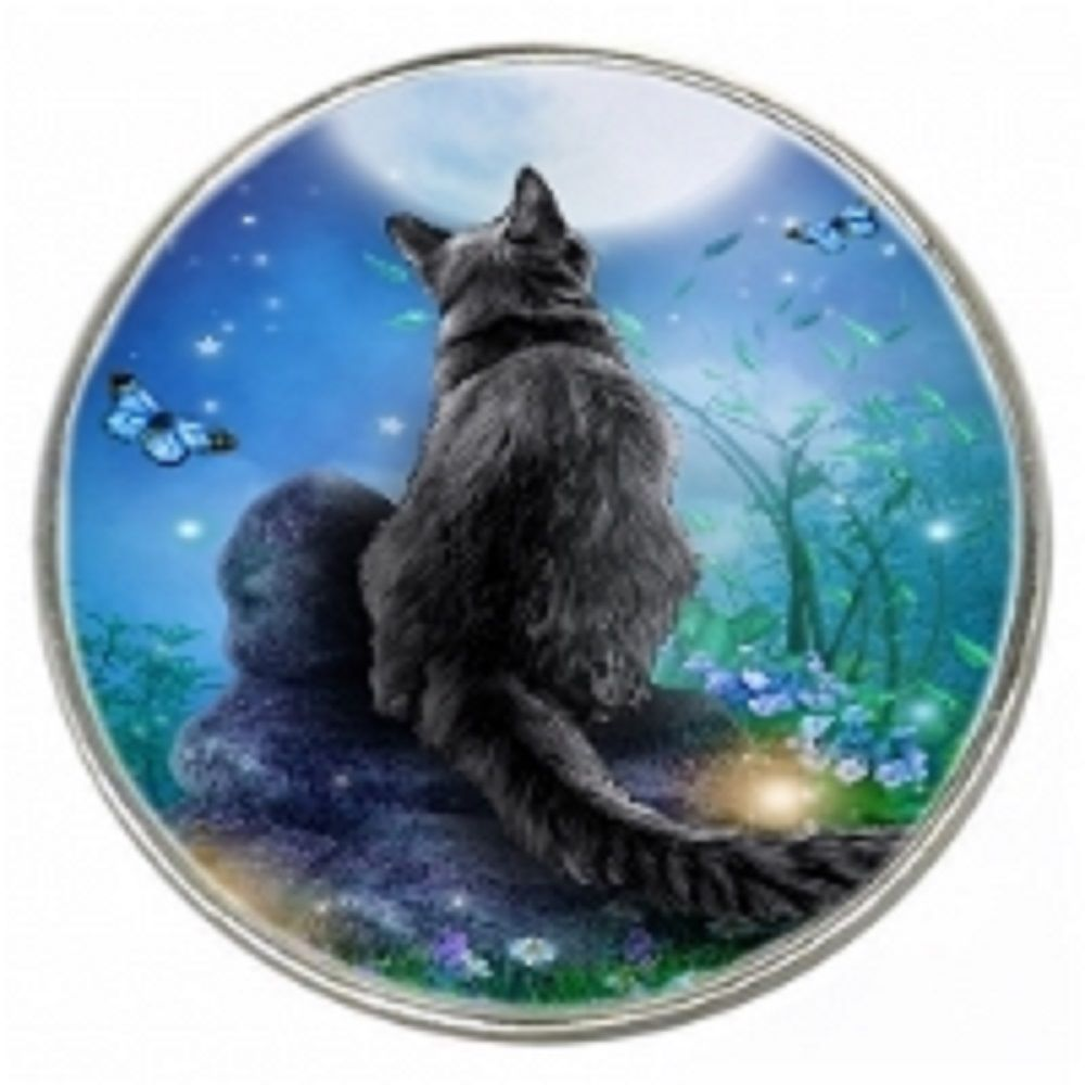 Fantasy Cat - Moongazer - Chrome Finish Metal Magnet