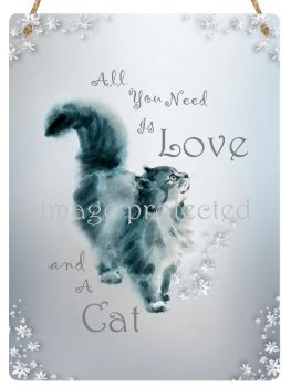 Hanging Metal Sign - (Maisy) Love & Cat