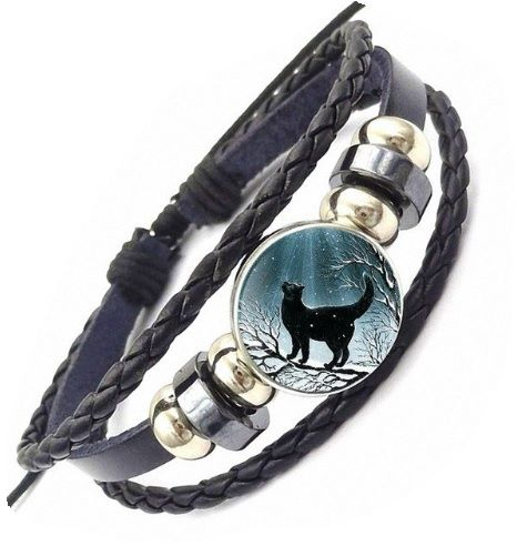 Leather Bracelet - Cat & Moonlit Branch