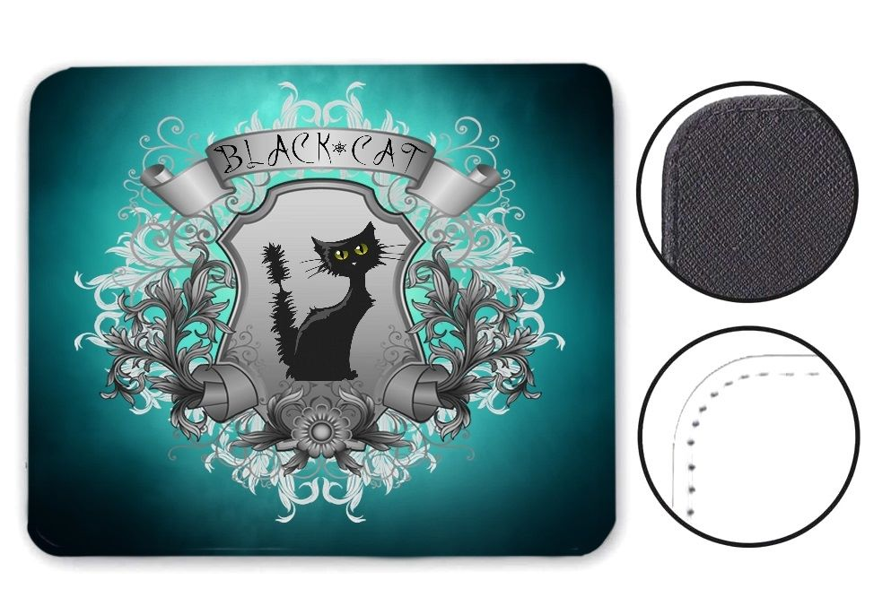Black Cat Mouse Mat