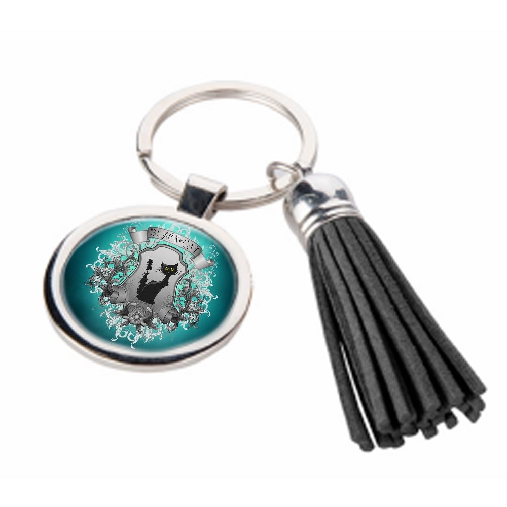 Black Cat - Metal Keyring & Tassel