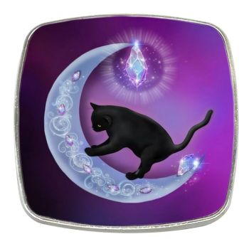 Fantasy Cat - The Healer Black Cat & Moon - Chrome Finish Metal Magnet