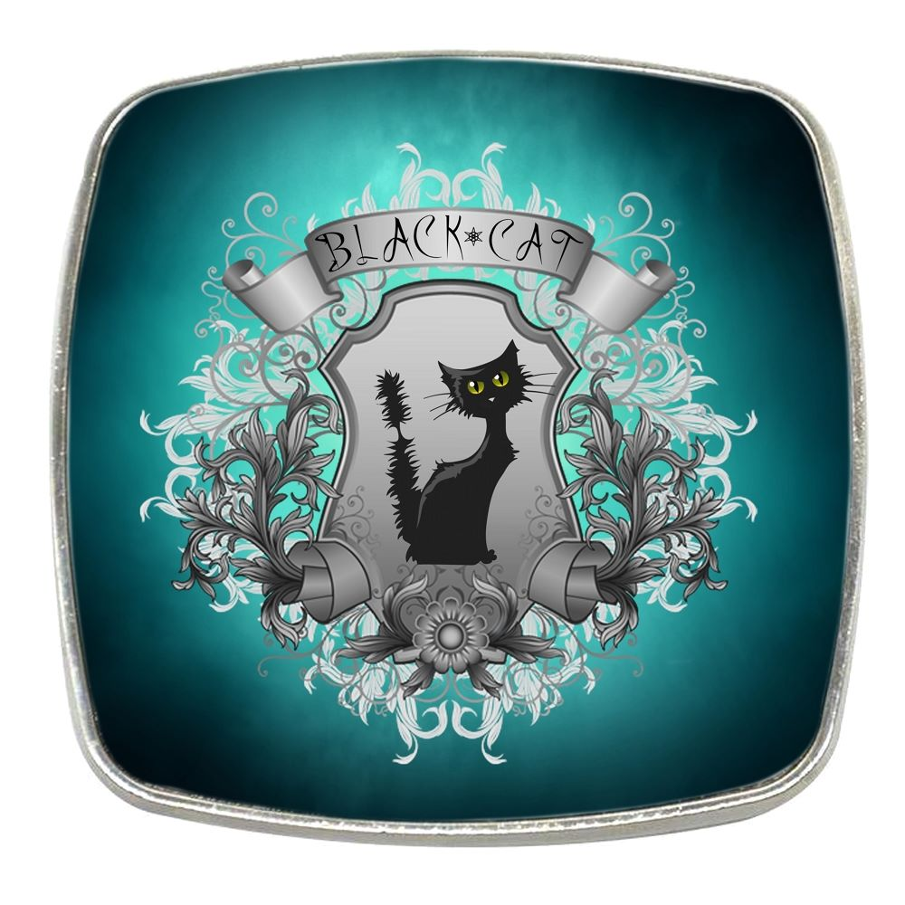 Black Cat - Chrome Finish Metal Magnet
