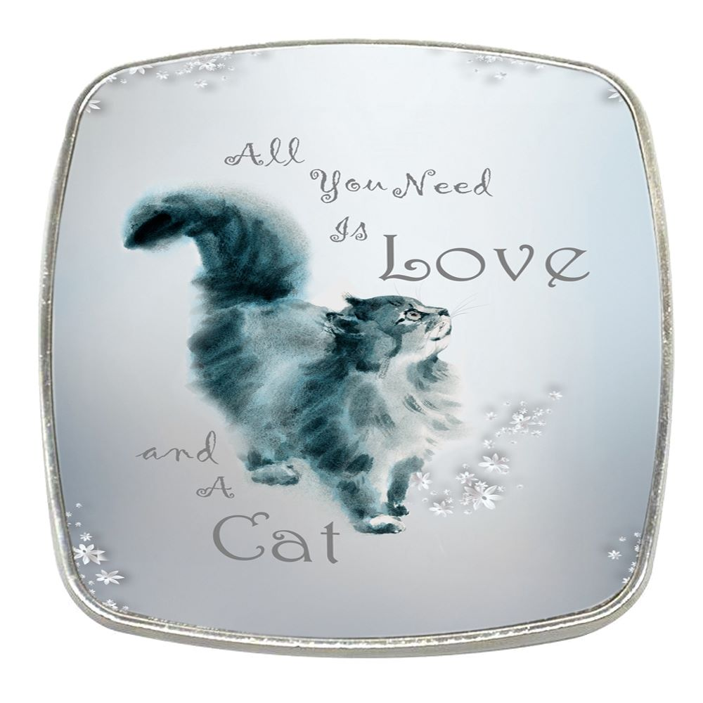 All You Need Is Love & A Cat - Chrome Finish Metal Magnet