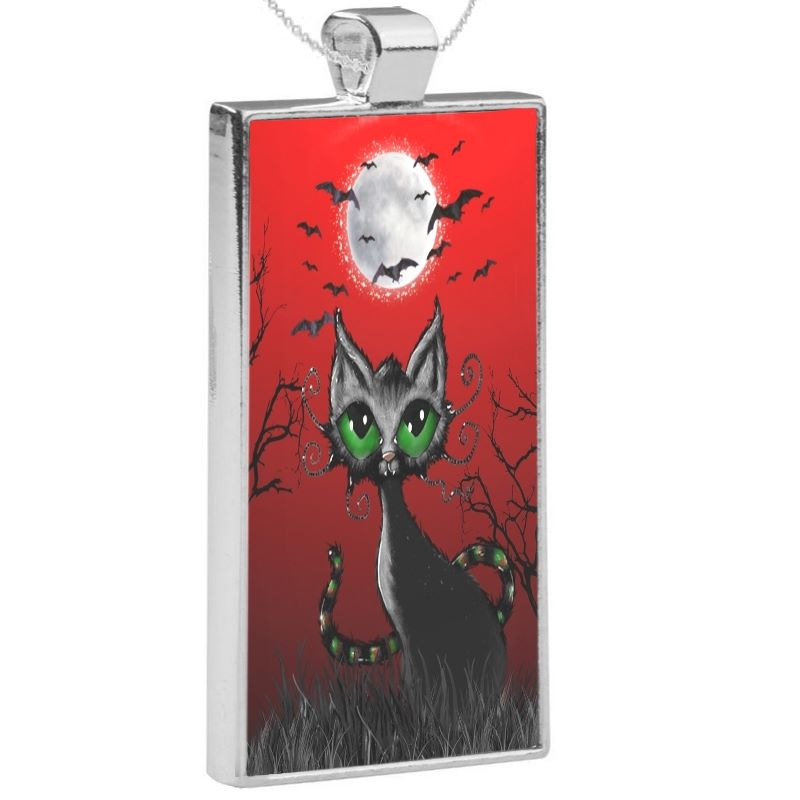 Silver Plated Pendant & 24 Inch Chain - Fright Night Kitty