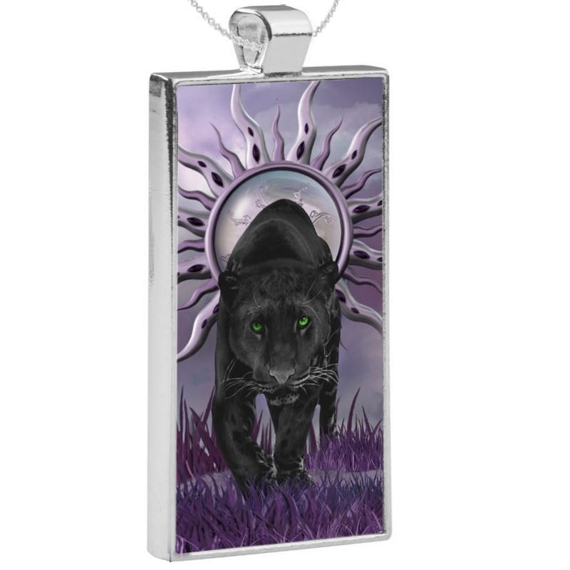 Silver Plated Pendant & 24 Inch Chain - Black Panther