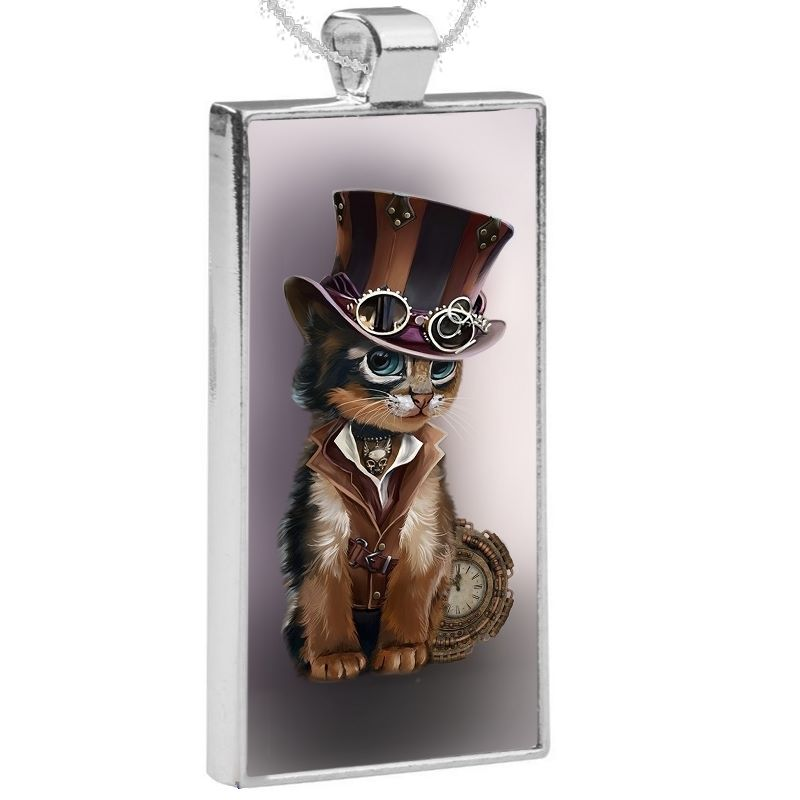 Silver Plated Pendant & 24 Inch Chain - Steampunk Cat
