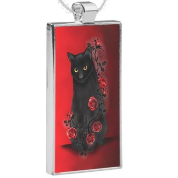 Silver Plated Pendant & 24 Inch Chain - Ebony Rose Black Cat & Red Roses