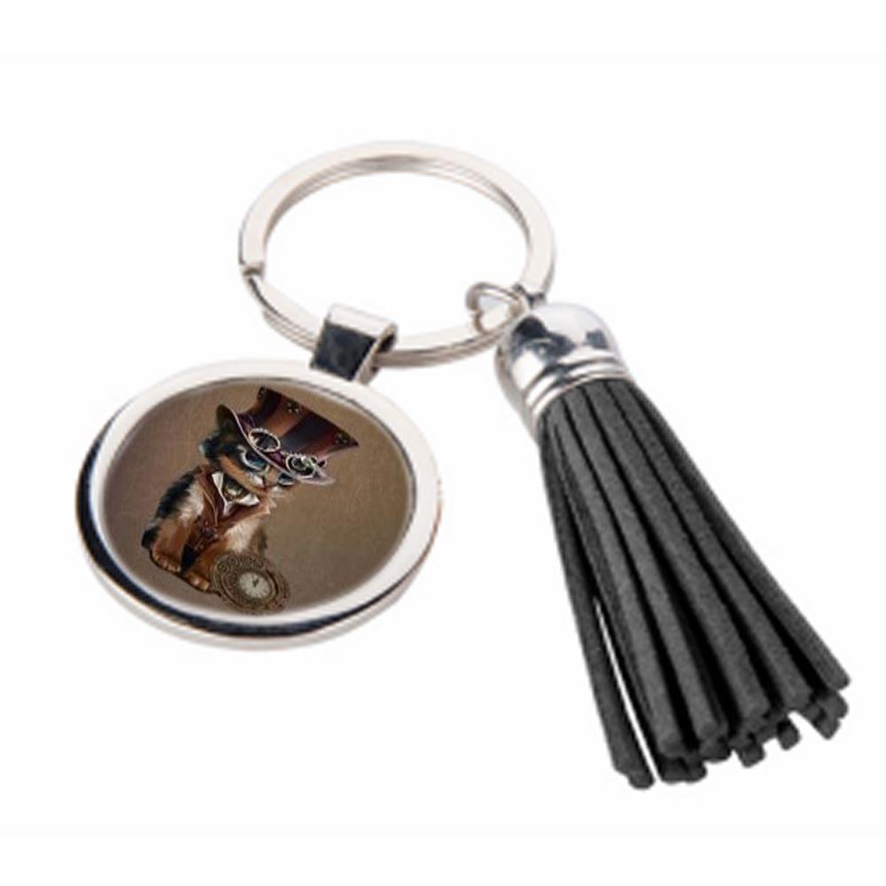 The Time Keeper - Steampunk cat - Metal Keyring & Tassel