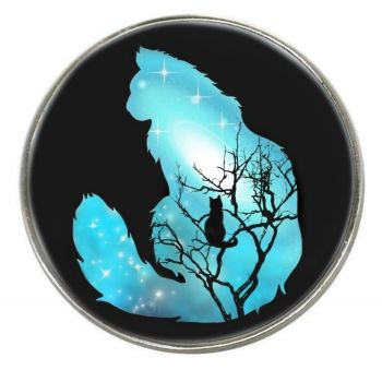 Galaxy Cat - Andromeda - Chrome Finish Metal Magnet
